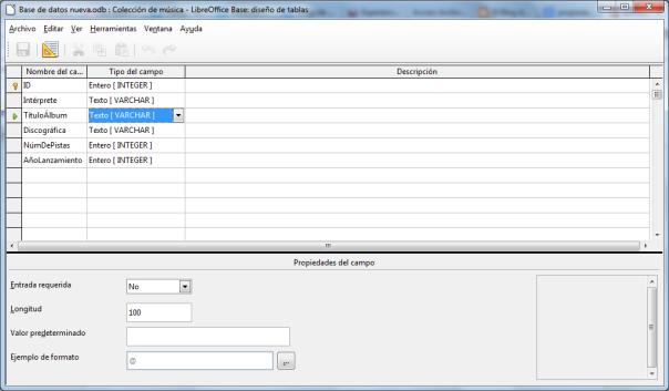 Propiedades básicas de una tabla en LibreOffice Base 1