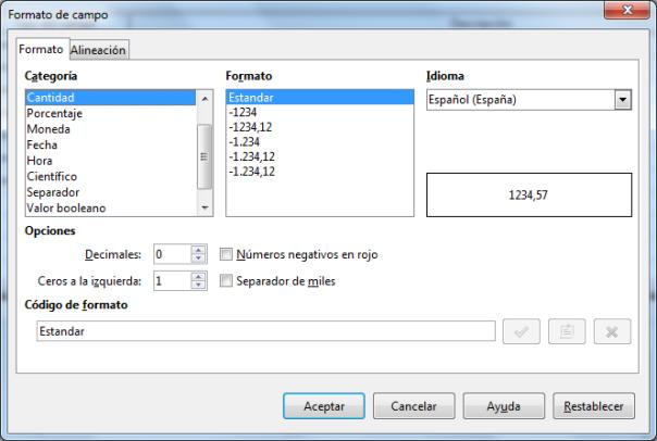 Propiedades básicas de una tabla en LibreOffice Base 2
